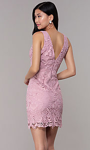 Image of short floral-lace mauve pink party dress. Style: MT-9641-2 Back Image