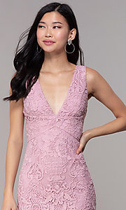 Image of short floral-lace mauve pink party dress. Style: MT-9641-2 Detail Image 1