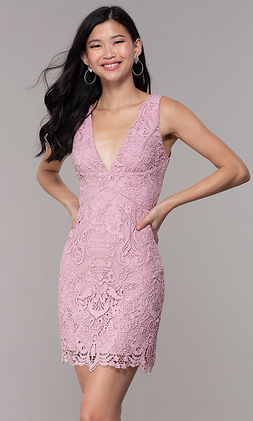 Image of short floral-lace mauve pink party dress. Style: MT-9641-2 Front Image