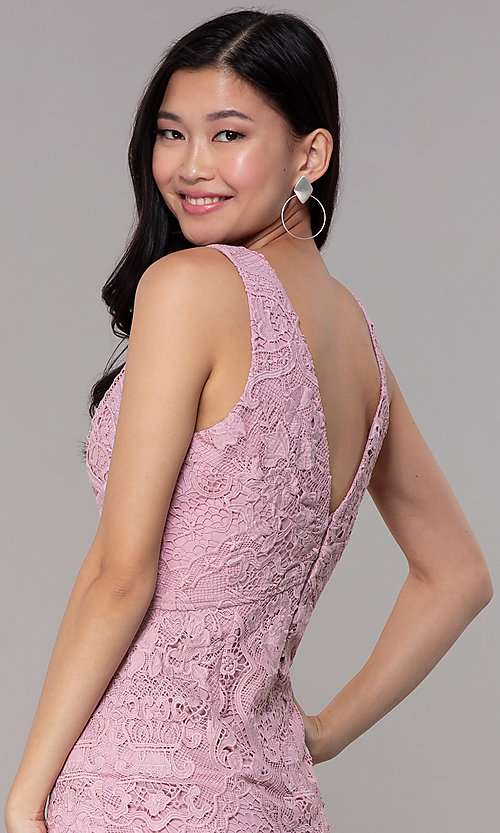 Image of short floral-lace mauve pink party dress. Style: MT-9641-2 Detail Image 2