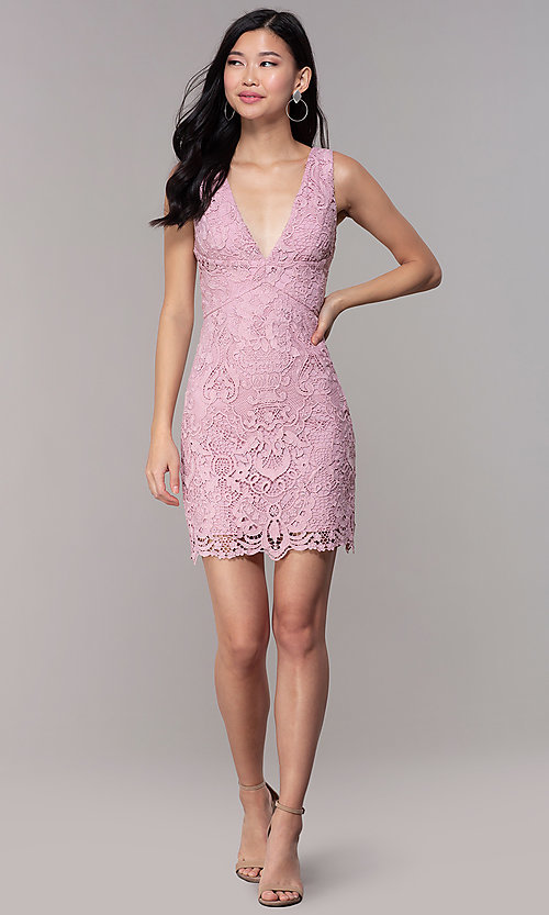 Image of short floral-lace mauve pink party dress. Style: MT-9641-2 Detail Image 3