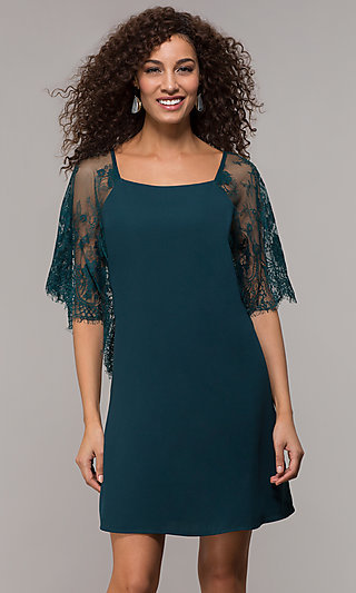 Lace Sleeve Short Shift Party Dress
