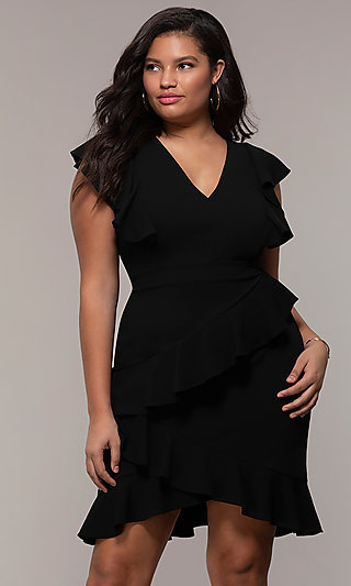 Plus-Size Short Ruffled Wedding-Guest Party Dress