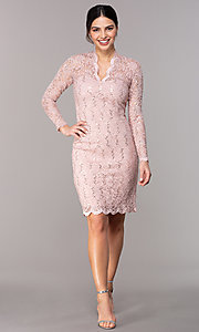 Image of short pastel lace long-sleeve wedding-guest dress. Style: JU-MA-261800a Detail Image 2