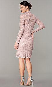 Image of short pastel lace long-sleeve wedding-guest dress. Style: JU-MA-261800a Detail Image 3