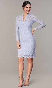 Image of short pastel lace long-sleeve wedding-guest dress. Style: JU-MA-261800a Front Image