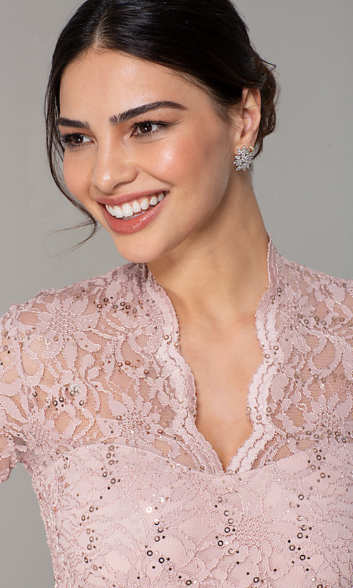 Image of short pastel lace long-sleeve wedding-guest dress. Style: JU-MA-261800a Detail Image 4