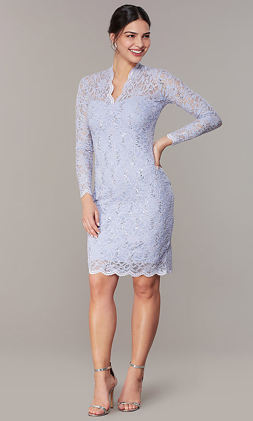 Short Pastel Lace Long Sleeve Wedding Guest Dress