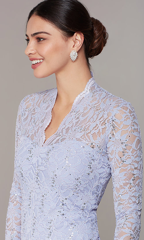 Image of short pastel lace long-sleeve wedding-guest dress. Style: JU-MA-261800a Detail Image 1