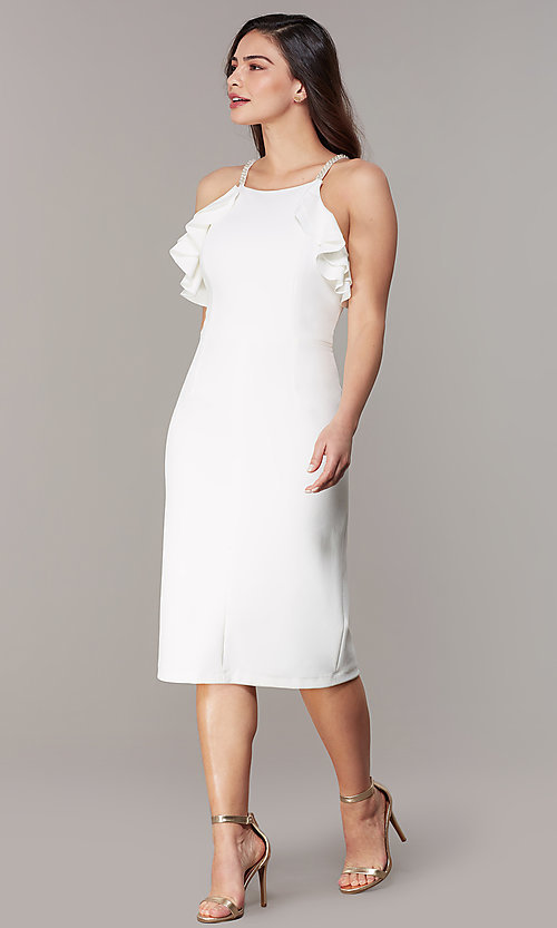 Image of knee-length ivory cocktail dress with ruffles. Style: JU-MA-262268 Front Image