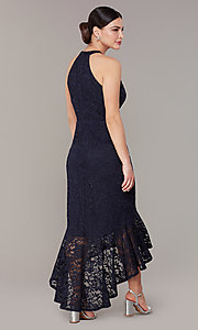 Image of glitter-lace navy blue wedding-guest dress. Style: JU-MA-262753 Back Image
