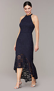 Image of glitter-lace navy blue wedding-guest dress. Style: JU-MA-262753 Detail Image 1