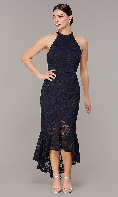 Image of glitter-lace navy blue wedding-guest dress. Style: JU-MA-262753 Front Image