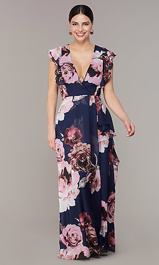 Floral Print Long Chiffon V-Neck Wedding Guest Dress