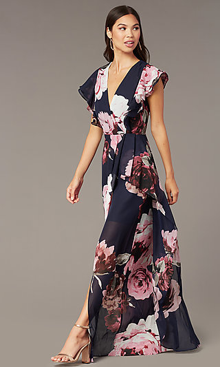 cadc05e4ac3 Floral Print Long Chiffon V-Neck Wedding Guest Dress. Share