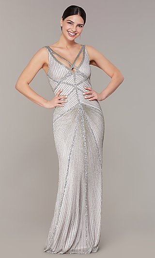 831b22472a V-Neck Long Silver Formal Dress with Sequins