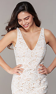 Image of ivory lace knee-length short formal party dress. Style: JU-MA-262803 Detail Image 1
