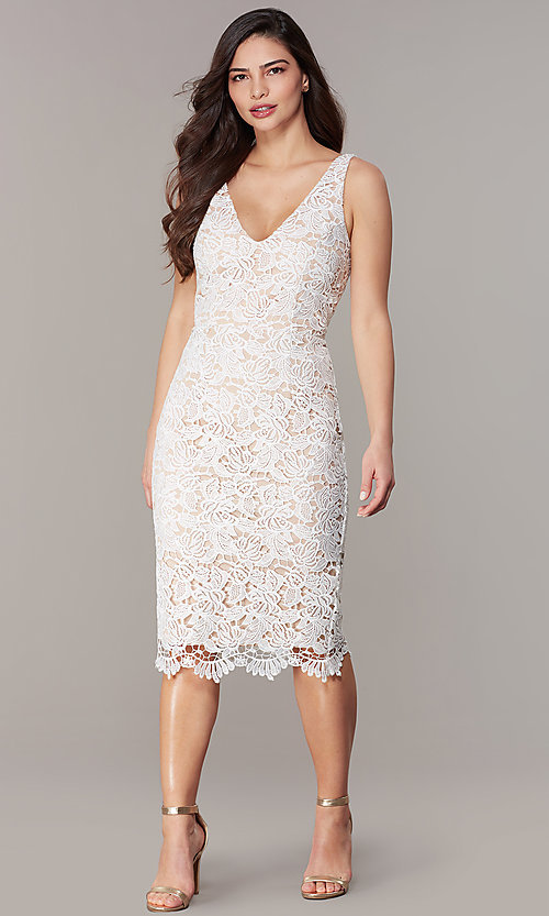 Image of ivory lace knee-length short formal party dress. Style: JU-MA-262803 Front Image