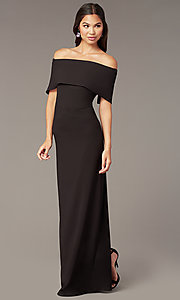 Image of off-the-shoulder long formal black dress in jersey. Style: JU-MA-262917 Front Image
