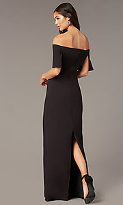 Image of off-the-shoulder long formal black dress in jersey. Style: JU-MA-262917 Detail Image 2