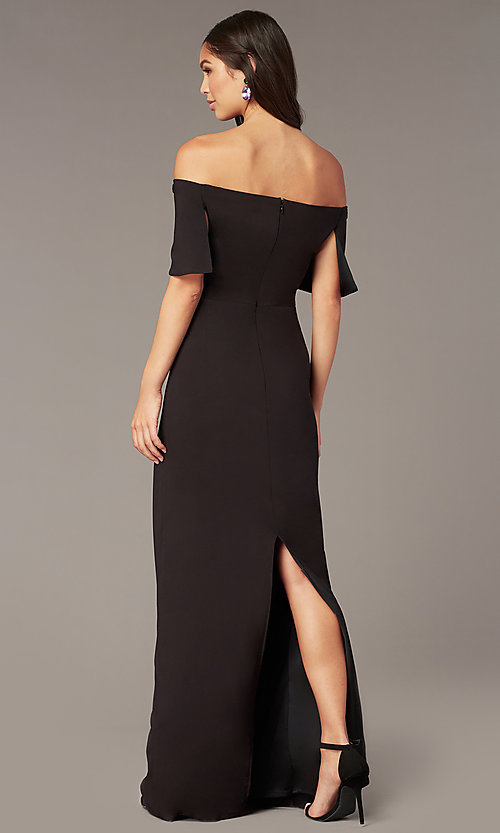 Image of off-the-shoulder long formal black dress in jersey. Style: JU-MA-262917 Back Image