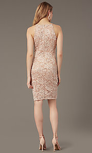 Image of short sequin-lace sheath wedding-guest dress. Style: JU-MA-262406 Back Image