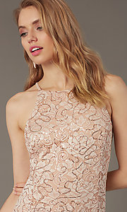 Image of short sequin-lace sheath wedding-guest dress. Style: JU-MA-262406 Detail Image 1