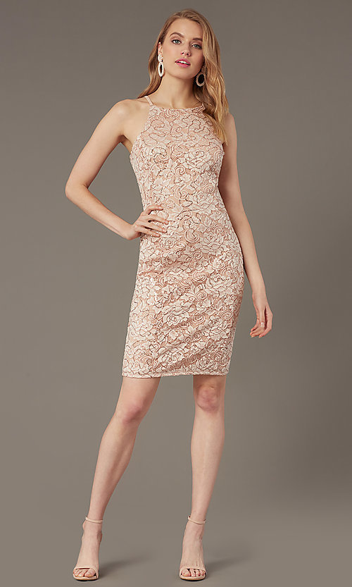 Image of short sequin-lace sheath wedding-guest dress. Style: JU-MA-262406 Front Image