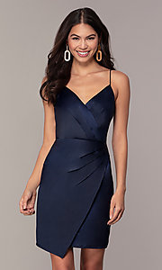 Image of navy blue short v-neck wedding guest dress by Simply. Style: MT-SD-9833 Front Image