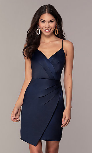 Navy Blue Short V-Neck Wedding Guest Dress by Simply