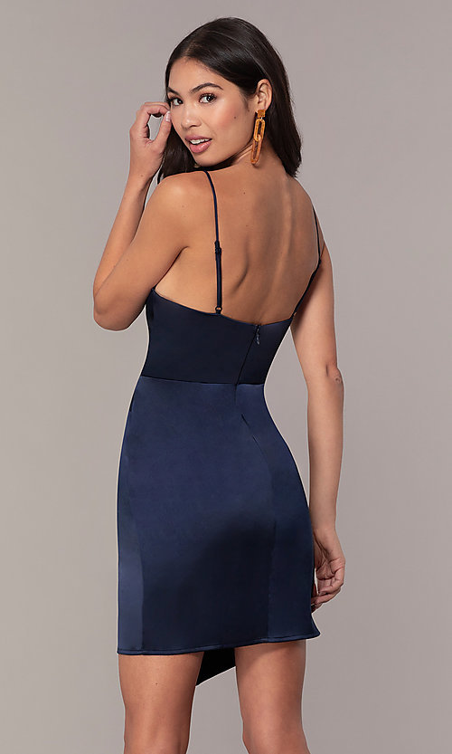 Image of navy blue short v-neck wedding guest dress by Simply. Style: MT-SD-9833 Back Image