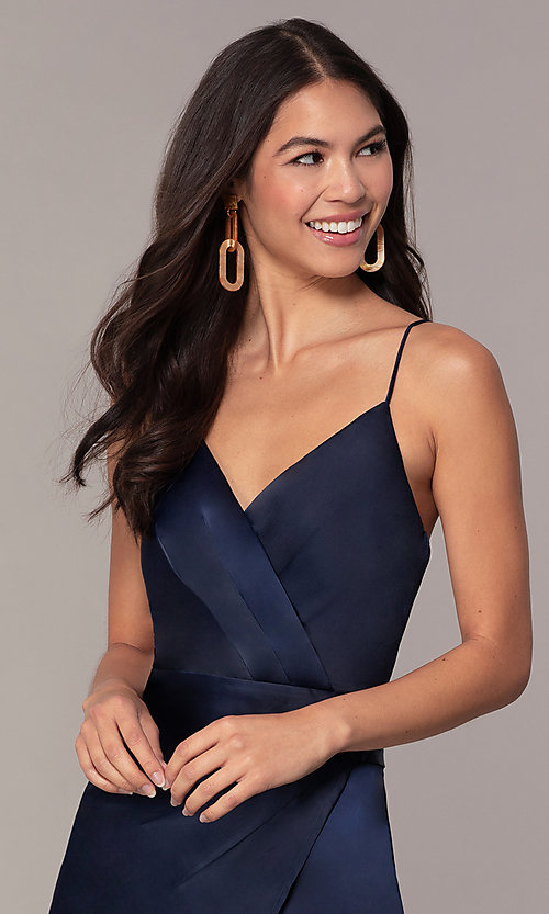 Image of navy blue short v-neck wedding guest dress by Simply. Style: MT-SD-9833 Detail Image 1