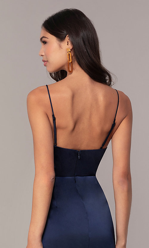 Image of navy blue short v-neck wedding guest dress by Simply. Style: MT-SD-9833 Detail Image 2