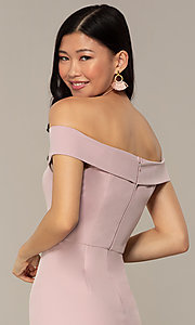 Image of off-the-shoulder short wedding-guest dress by Simply. Style: MT-SD-9829 Detail Image 2