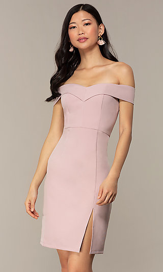 Off-the-Shoulder Short Wedding-Guest Dress by Simply
