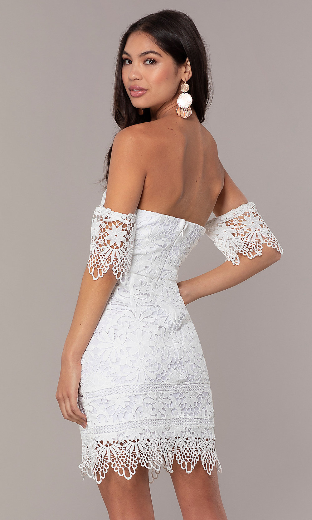 8e7ebae884 Lace Short Off-the-Shoulder Graduation Dress by Simply