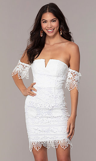Lace Off-Shoulder Short Graduation Dress by Simply