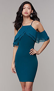 Image of cold-shoulder knee-length Simply wedding-guest dress. Style: MCR-SD-2564 Detail Image 4