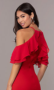Image of cold-shoulder knee-length Simply wedding-guest dress. Style: MCR-SD-2564 Detail Image 2