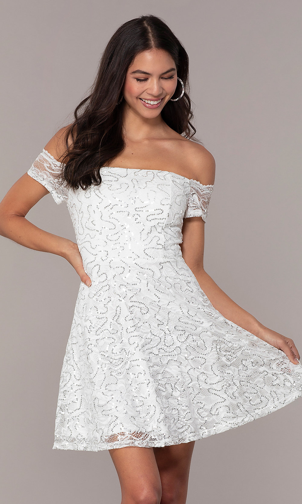 fc3c5a8df6 Simply Ivory Short Graduation Dress with Sequins