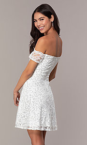 Image of ivory sequin short graduation dress by Simply. Style: MCR-SD-2512-I Back Image