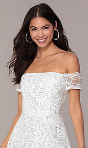 Image of ivory sequin short graduation dress by Simply. Style: MCR-SD-2512-I Detail Image 1