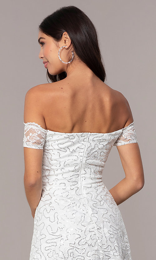 Image of ivory sequin short graduation dress by Simply. Style: MCR-SD-2512-I Detail Image 2