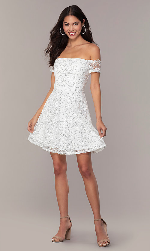 Image of ivory sequin short graduation dress by Simply. Style: MCR-SD-2512-I Detail Image 3