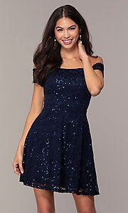 Image of sequin-lace short wedding-guest dress by Simply. Style: MCR-SD-2512-N Front Image