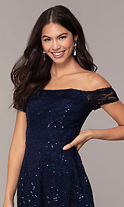 Image of sequin-lace short wedding-guest dress by Simply. Style: MCR-SD-2512-N Detail Image 1