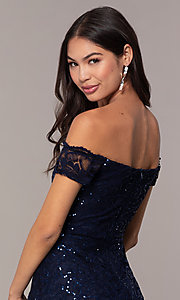 Image of sequin-lace short wedding-guest dress by Simply. Style: MCR-SD-2512-N Detail Image 2