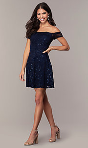 Image of sequin-lace short wedding-guest dress by Simply. Style: MCR-SD-2512-N Detail Image 3
