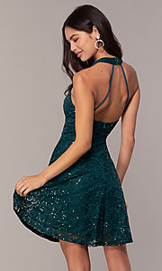 Image of sequin-lace short teal wedding-guest dress by Simply. Style: MCR-SD-2566 Back Image
