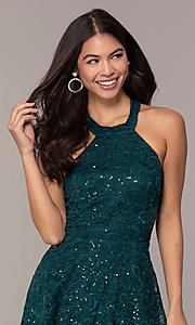 Image of sequin-lace short teal wedding-guest dress by Simply. Style: MCR-SD-2566 Detail Image 1